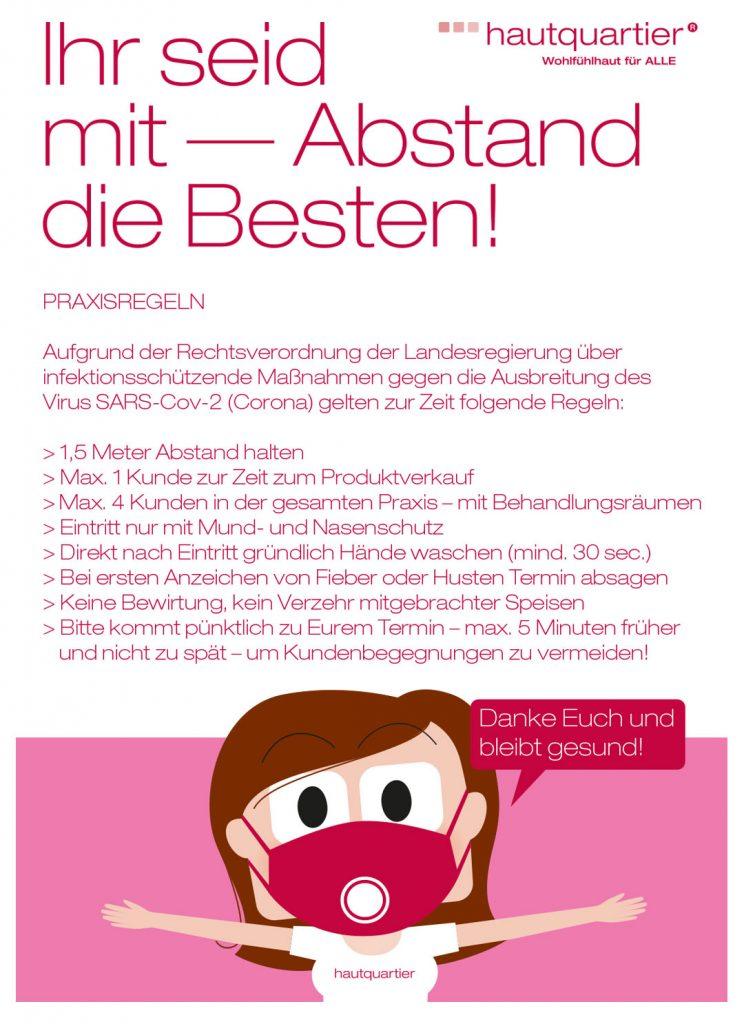 HQ PLAKAT CORONA NEUE REGELN A4print - Home 2020 Kosmetik Bremen - mehr als nur Naturkosmetik gesunde Haut Bremen